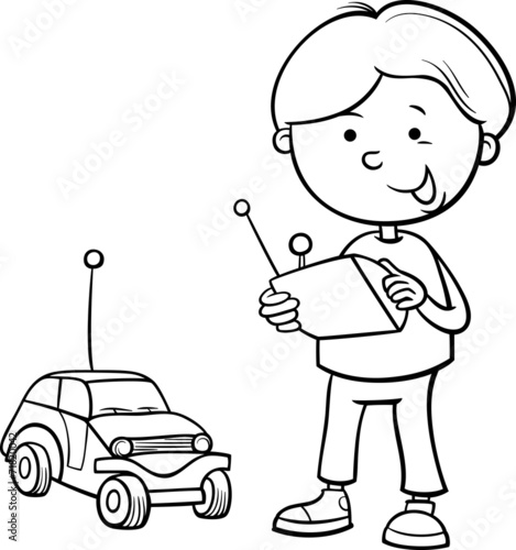 u0026quot boy and remote car coloring page u0026quot  stock image and royalty