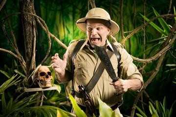 Adventurer finding a skull