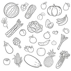 black and white fruit and vegetables