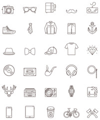 Hipster contour icon set