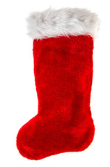 christmas stocking. red sock for Santa's gifts. winter holidays