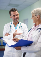 Medical consultation of two professional doctors