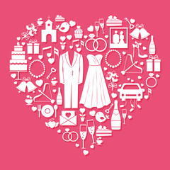 Wedding elements in the shape of a heart