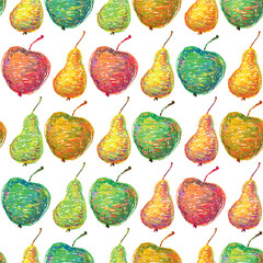 Seamless pattern with apple and pear