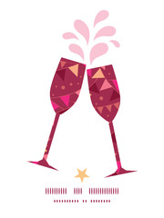 Vector christmas decorations flags toasting wine glasses