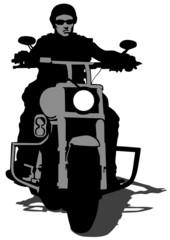 Wall Mural - Biker whit helmet