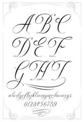 Calligraphy alphabet with numbers