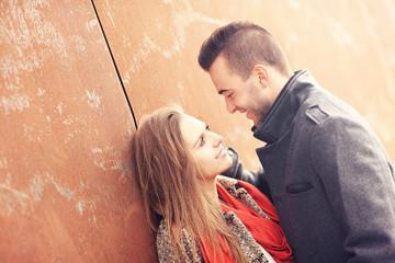 Romantic couple on an autumn date