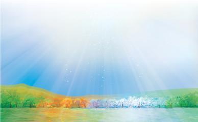 Vector four season landscape. Wall mural