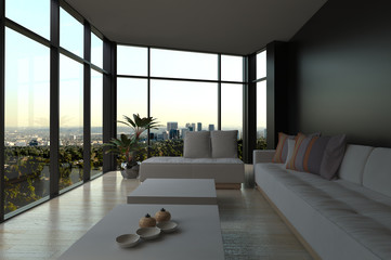 Architectural Living Room with Glass Windows