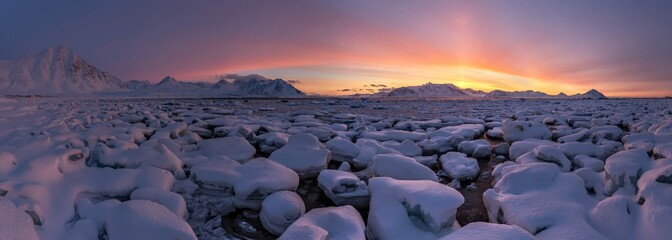 Arctic PANORAMA - golden hour - 3 minutes before the sunrise Wall mural