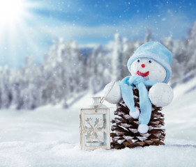 Wall Mural - Winter snowy scenery with snow man