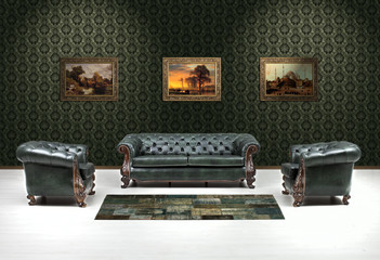 classic leather chair,chester Wall mural