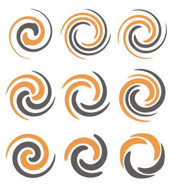 Set of spiral and swirls symbols and icons