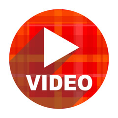 video red flat icon isolated