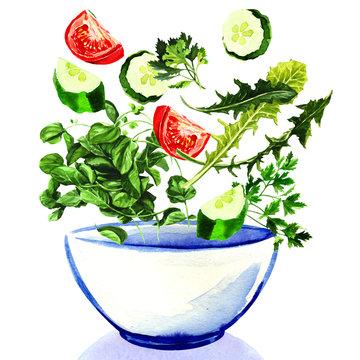 Fresh vegetables falling into bowl of salad