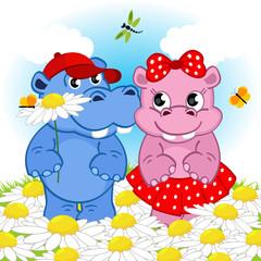 hippo boy gives flower girl - vector illustration, eps