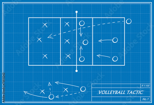 Volleyball tactic on blueprint stock image and royalty free vector volleyball tactic on blueprint malvernweather Images