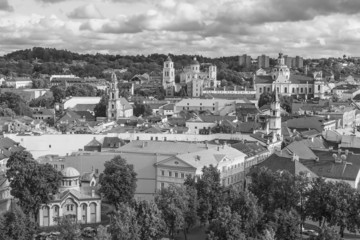 Wall Mural - Black and white view of the old Vilnius