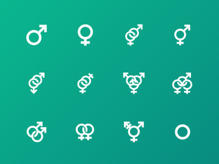 Gender symbol icons on green background.