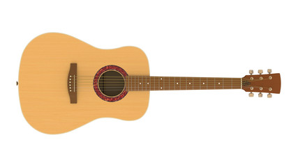 3D model of acoustic guitar isolated on white background