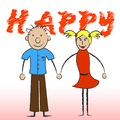 Happy Couple Shows Joy Romantic And Smiling