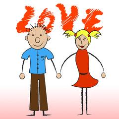 Love Couple Indicates Compassionate Devotion And Fondness