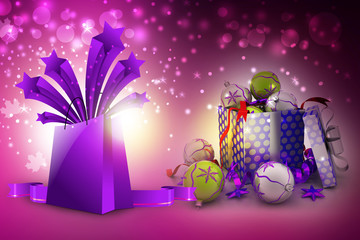 New year gift box with bubbles
