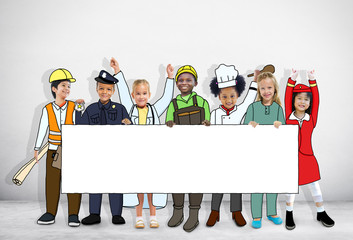 Children in Dreams Job Uniform Holding Banner with Copy Space