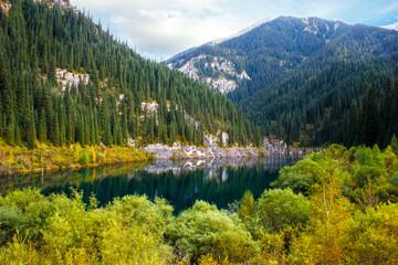 Kaindy Lake in Tien Shan mountain, Kazakhstan.