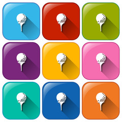 Rounded icons with golf balls