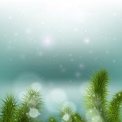 Christmas tree on a background of a snowy landscape