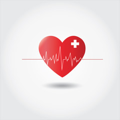 Heart beat rate icon with ecg,healthcare, medical vector