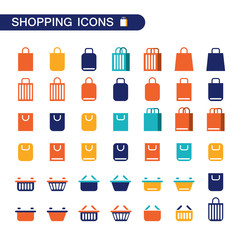 Set of shopping bag and basket icons for web.