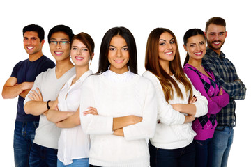 Happy woman leading her happy team over white background