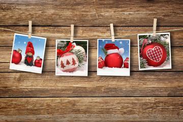Weihnachtshintergrund / Kugeln / Holz / polaroid