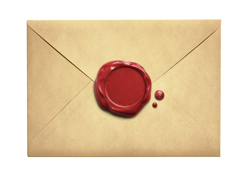 Old letter envelope with wax seal isolated