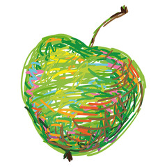 The Art Apple. Funny sketch of Apple. Doodles apple in vector