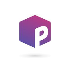 Letter P cube logo icon design template elements