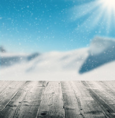 Fototapete - Winter scenery with wooden planks