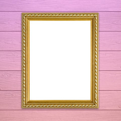 golden frame on colorful wood wall background