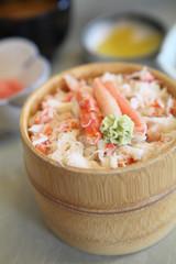 crab on rice , kanidon japanese food