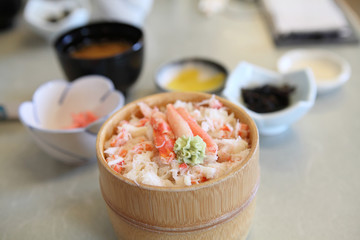 crab on rice , kanidon japanese food