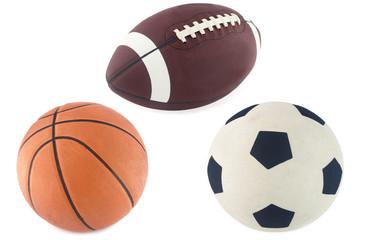 Football, basketball and rugby ball