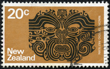 stamp printed in the New Zealand shows Maori Tattoo Pattern