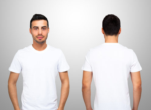 Front and rear portrait of a man wearing a white t-shirt