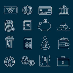 Money finance icons outline