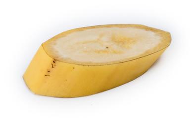 Closeup slice of unpeeled natural Australian yellow banana