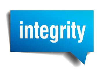 integrity blue 3d realistic paper speech bubble