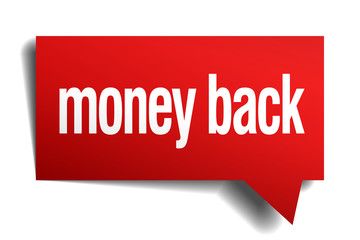 money back red 3d realistic paper speech bubble